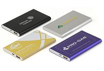 Portable Charger Power Banks in Black, Silver, Gold and Blue