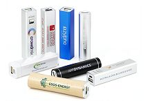 Power banks selection in metal, plastic and wood casings