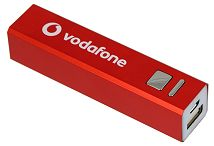 Red power bank with a white Vodafone logo