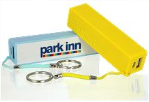 Two keyring power banks yellow and blue with Park Inn logo