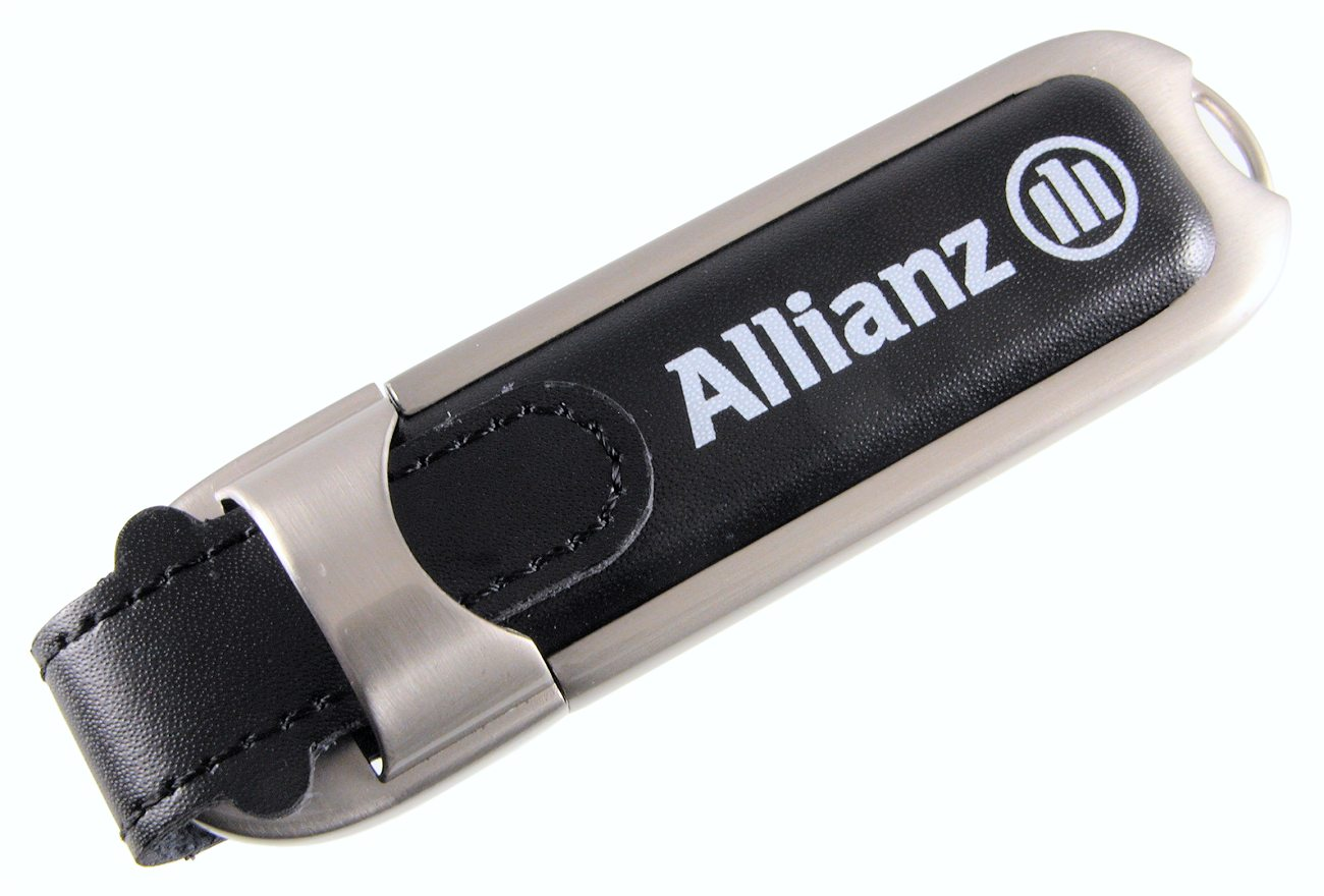 Black Leather And Metal Body Usb Stick Branded Alliance Cd288