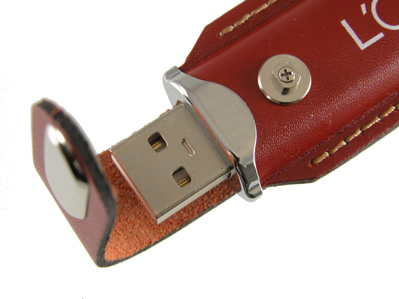 Branded Brown Leather Usb Stick Connector Detail Cd285
