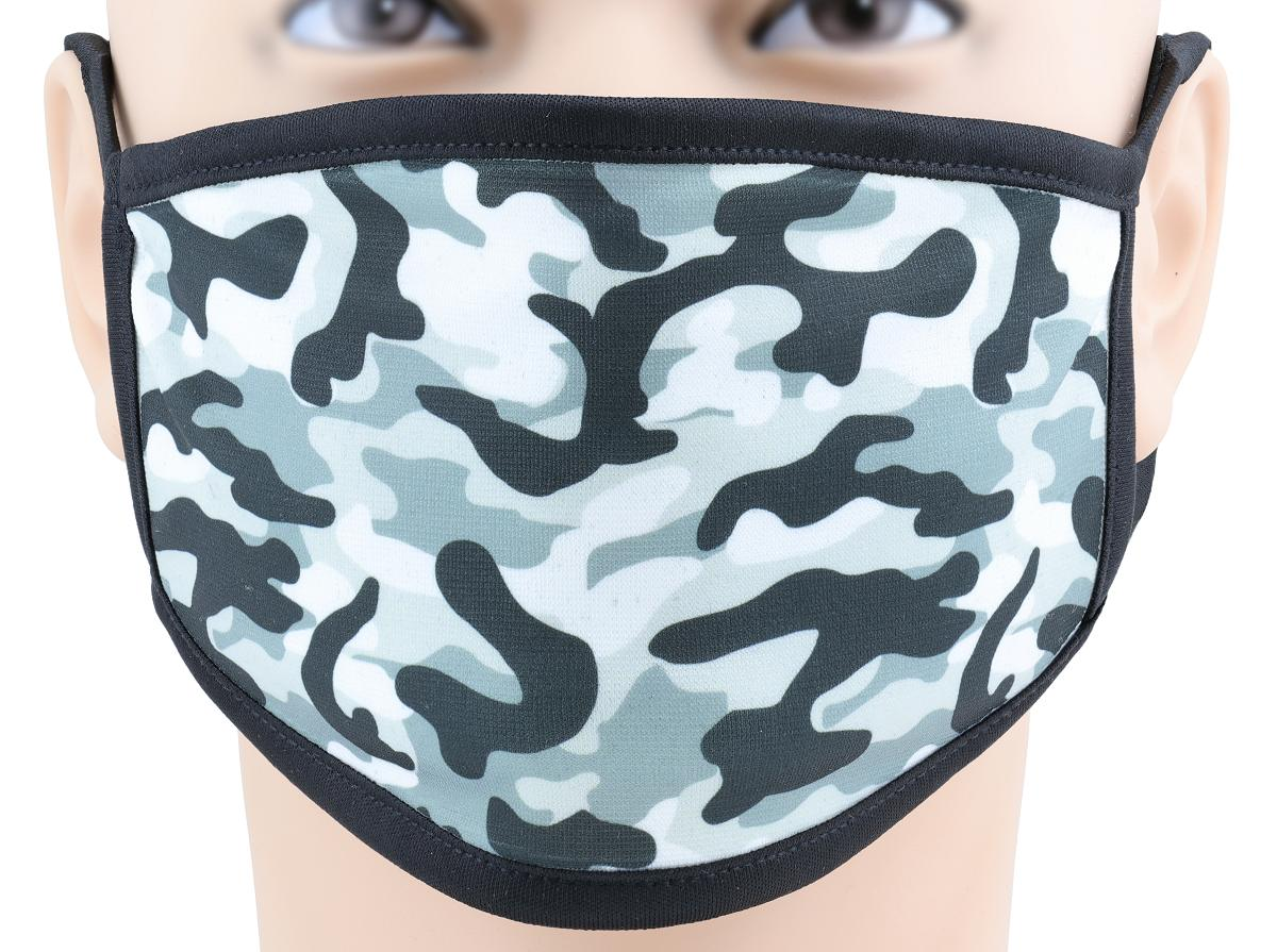 Camouflage pattern face mask on a male mannequin front view