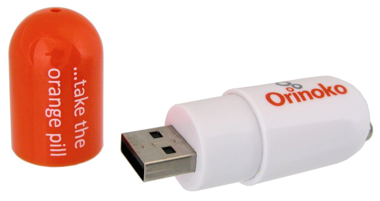 Cool Branded Flash Drive Drug Capsule Shape Orinoko Orange Cd278