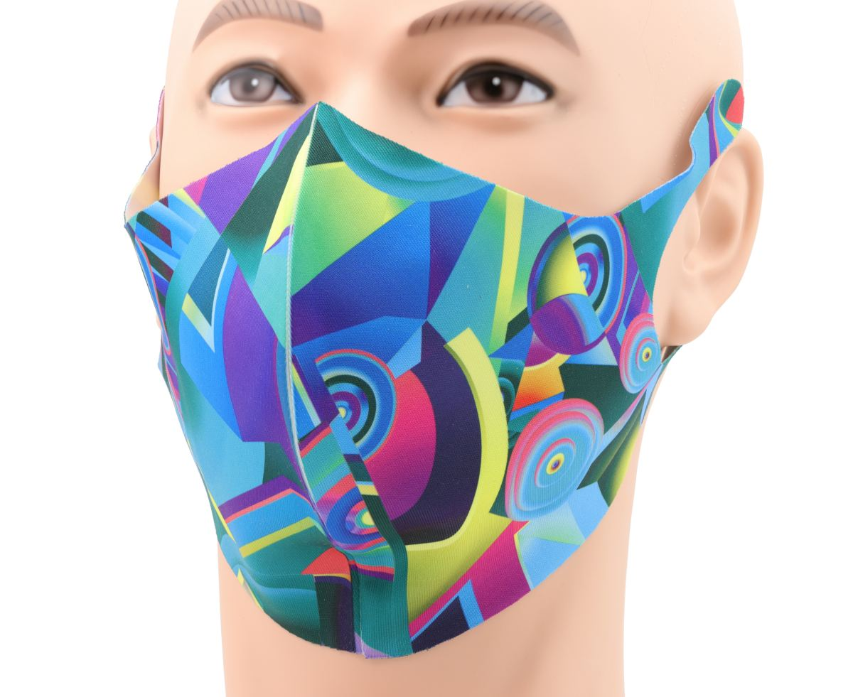 Cool face mask abstract colour printed