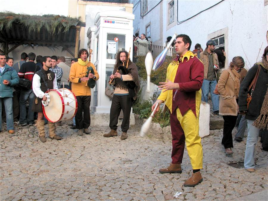 Juggler and traditional musicians at the Marvao Chestnut Festival