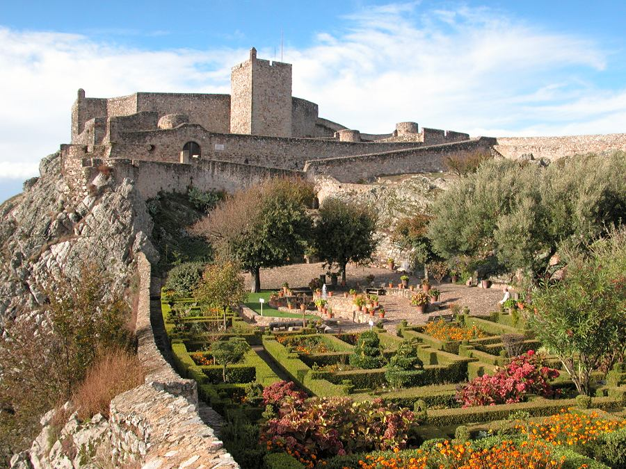 Marvao castle viewed from the gardens.
