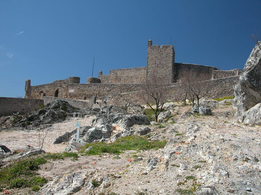 Marvao castle viewed from the east over the rocky granite terrain