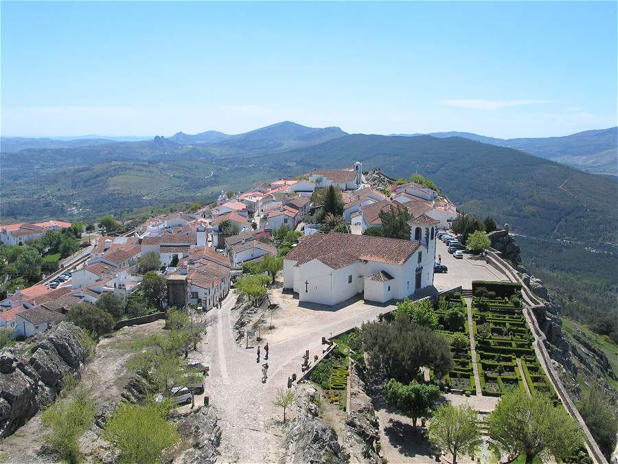 Marvao village viewed from the castle showing the Municipal Museum