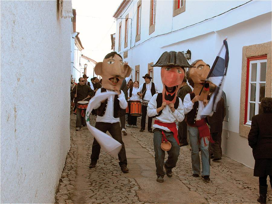 Masked traditional procession at the Marvao Chestnut Festival Portugal