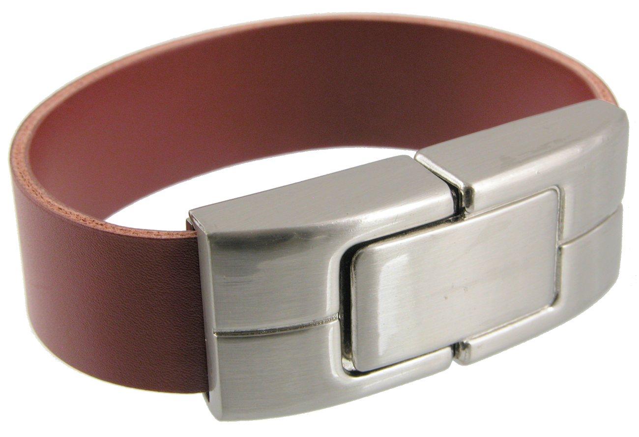 Metal Flash Drive Brown Leather Wrist Strap Open Cd296