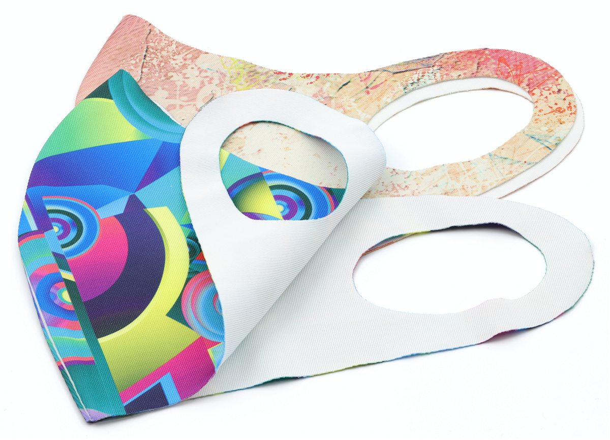 Two fabric face masks colour printed