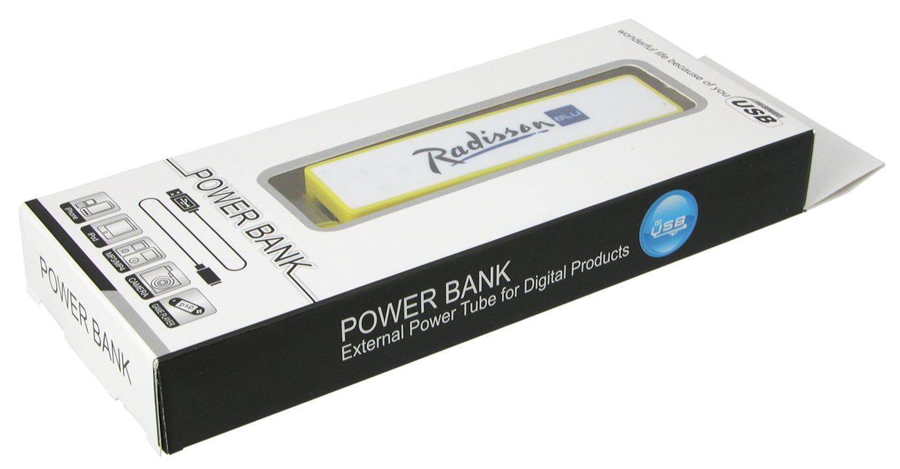 A power bank charger in box packaging with a tranparent window
