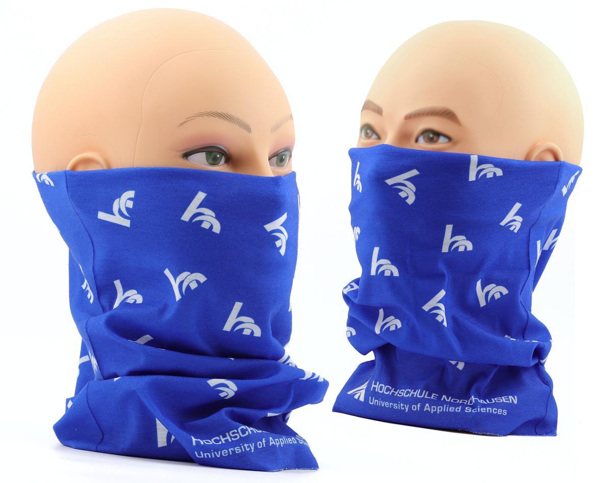 Bandanas in blue printed poylester fabric