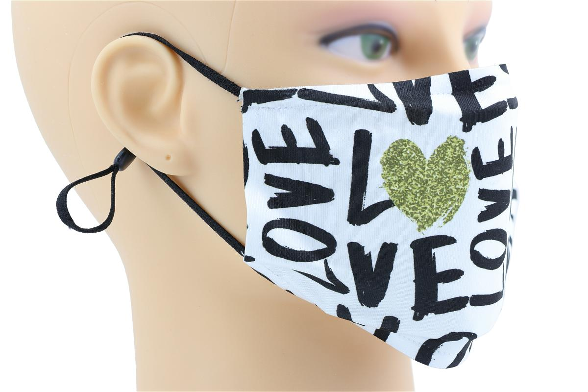Face mask printed with Love on a female mannequin side view