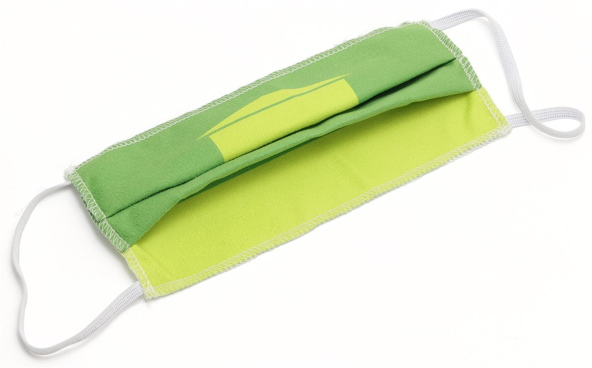 Face Mask in Green Microfibre Cloth laid flat
