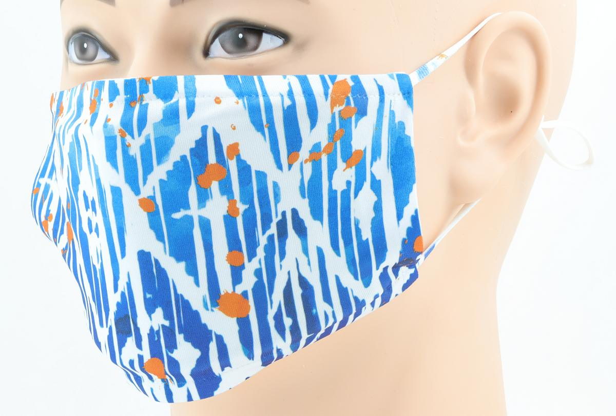 Printed face mask on a male mannequin side view