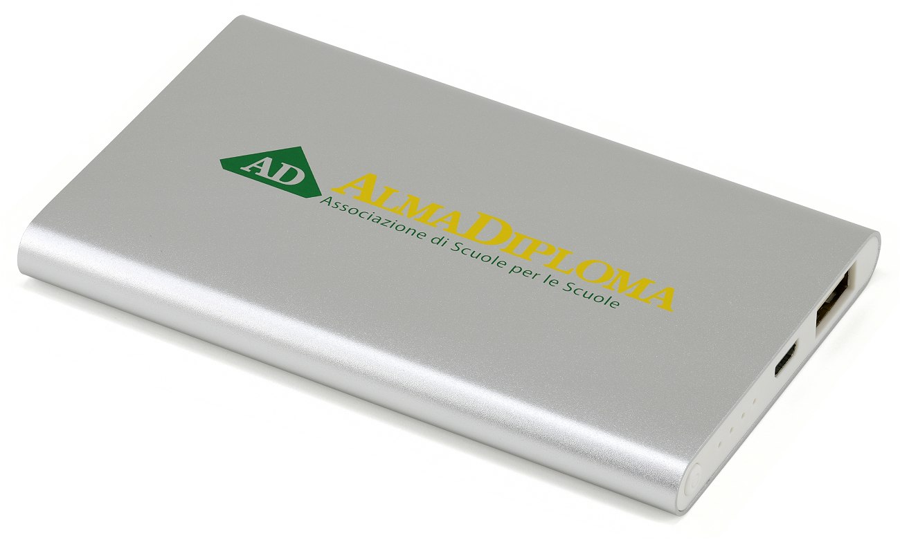 Promotional Power Bank Charger Two Colour Print Silver Cd070