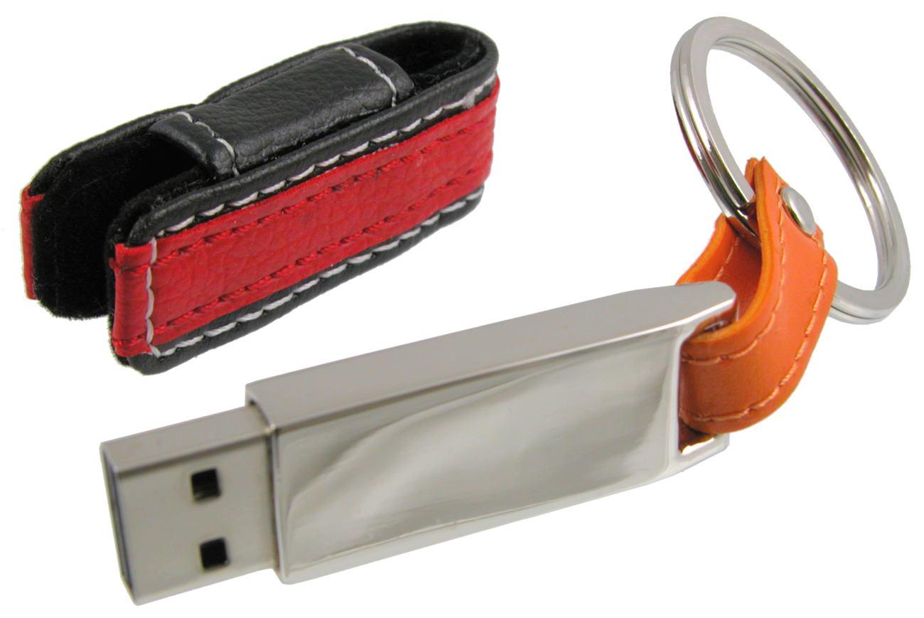 Red Black Leather Covered Metal Usb Stick Keyring Cd291