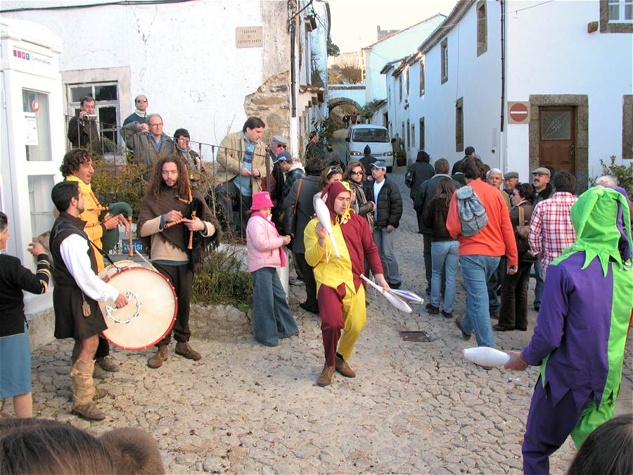 Traditional musicians and juggling street performers at the Marvao Chestnut Festival