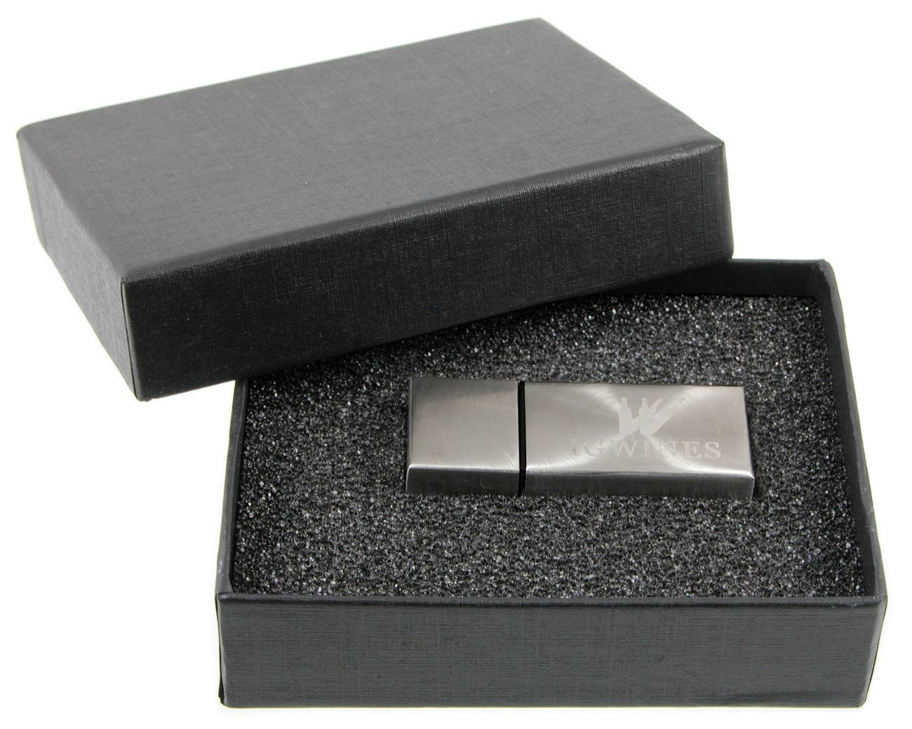 Usb Flash Drive Engraved Stainless Steel Black Presentation Box Cd277