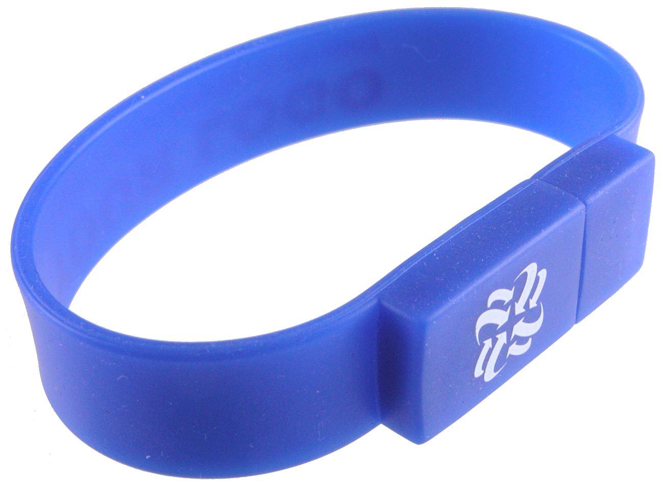 Usb Stick Wristband Blue Printed White Graphic Cd239
