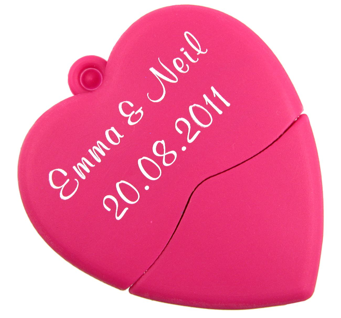 Wedding Usb Flash Drive Pink Heart Printed With Bride And Groom Names Cd232