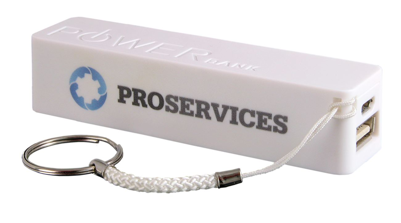 White Power Bank Keyring Cd060