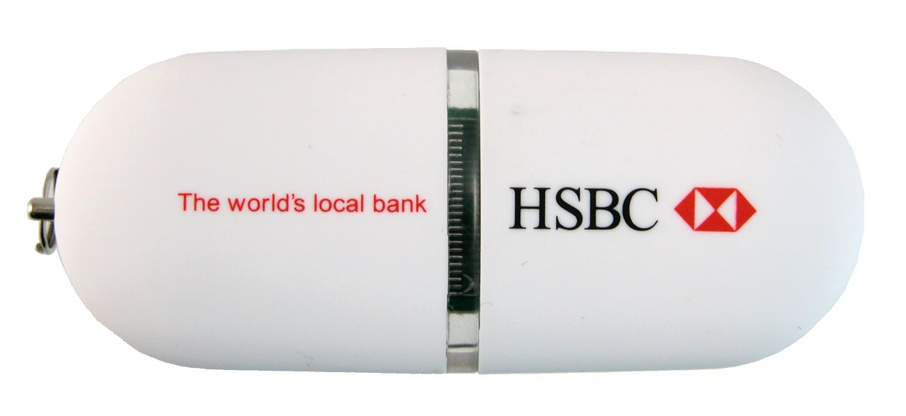 White Promotional Flash Drive Hsbc Cd235